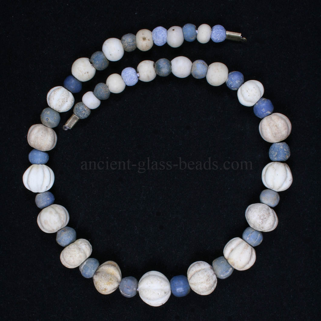 Ancient Roman melon glass beads necklace 221NA