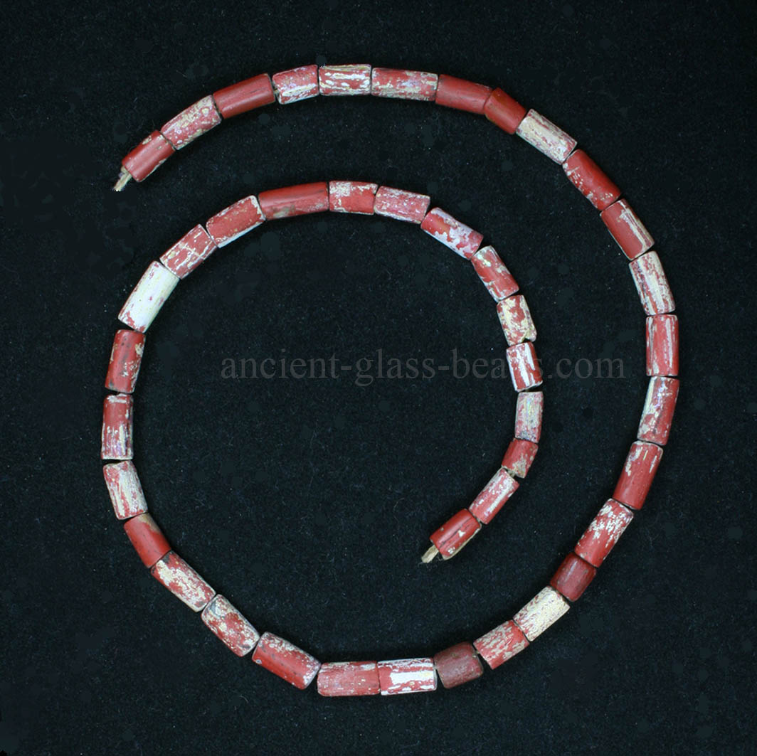 Ancient Roman red glass necklace 229NA